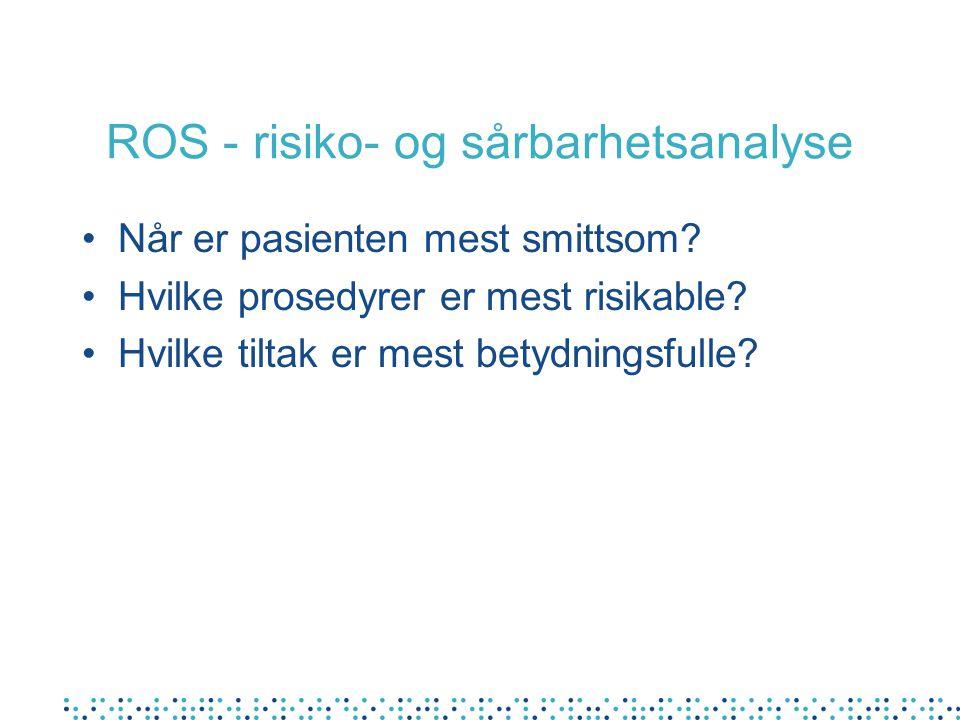 ROS - risiko- og sårbarhetsanalyse •Når er pasienten mest smittsom.