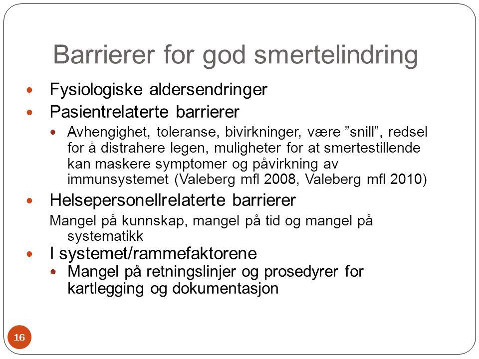 """Barrierer for god smertelindring  Fysiologiske aldersendringer  Pasientrelaterte barrierer  Avhengighet, toleranse, bivirkninger, være """"snill"""", red"""