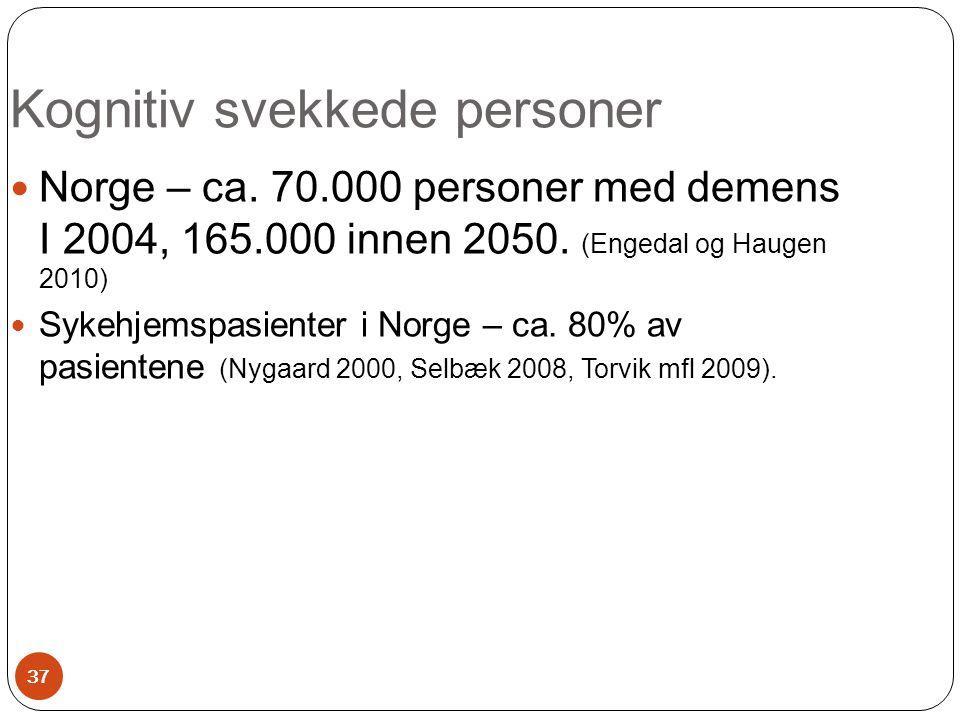  Norge – ca. 70.000 personer med demens I 2004, 165.000 innen 2050. (Engedal og Haugen 2010)  Sykehjemspasienter i Norge – ca. 80% av pasientene (Ny
