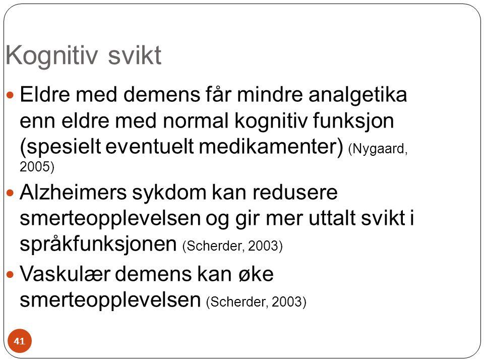  Eldre med demens får mindre analgetika enn eldre med normal kognitiv funksjon (spesielt eventuelt medikamenter) (Nygaard, 2005)  Alzheimers sykdom