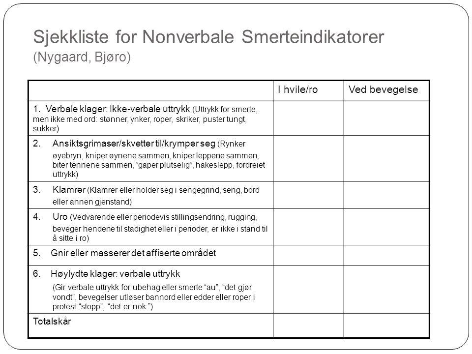 Sjekkliste for Nonverbale Smerteindikatorer (Nygaard, Bjøro) I hvile/roVed bevegelse 1. Verbale klager: Ikke-verbale uttrykk (Uttrykk for smerte, men