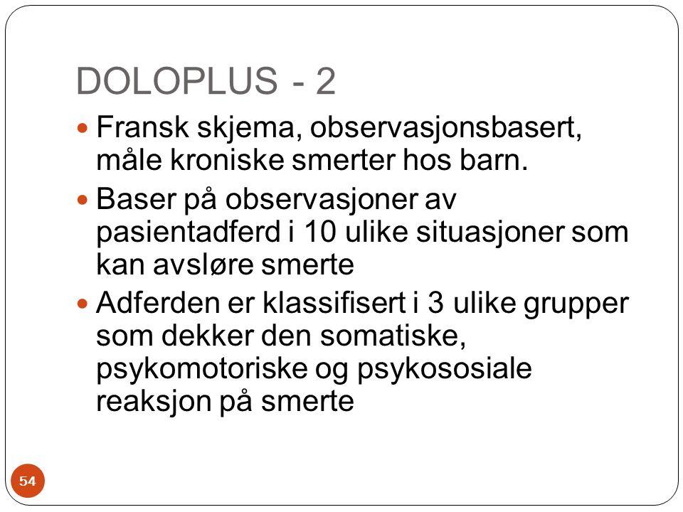 DOLOPLUS - 2  Fransk skjema, observasjonsbasert, måle kroniske smerter hos barn.  Baser på observasjoner av pasientadferd i 10 ulike situasjoner som