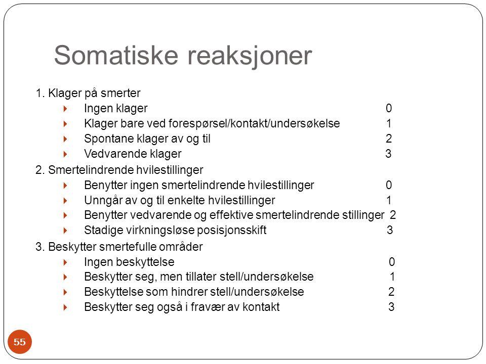 Somatiske reaksjoner 1. Klager på smerter  Ingen klager 0  Klager bare ved forespørsel/kontakt/undersøkelse 1  Spontane klager av og til 2  Vedvar