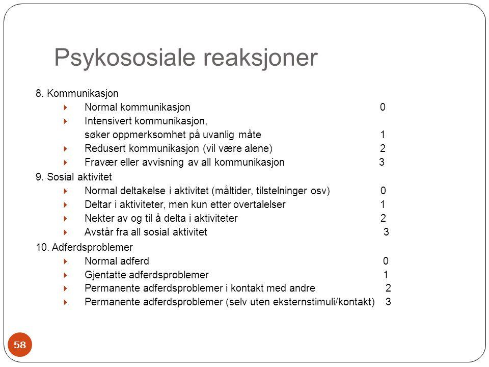 Psykososiale reaksjoner 8. Kommunikasjon  Normal kommunikasjon 0  Intensivert kommunikasjon, søker oppmerksomhet på uvanlig måte 1  Redusert kommun