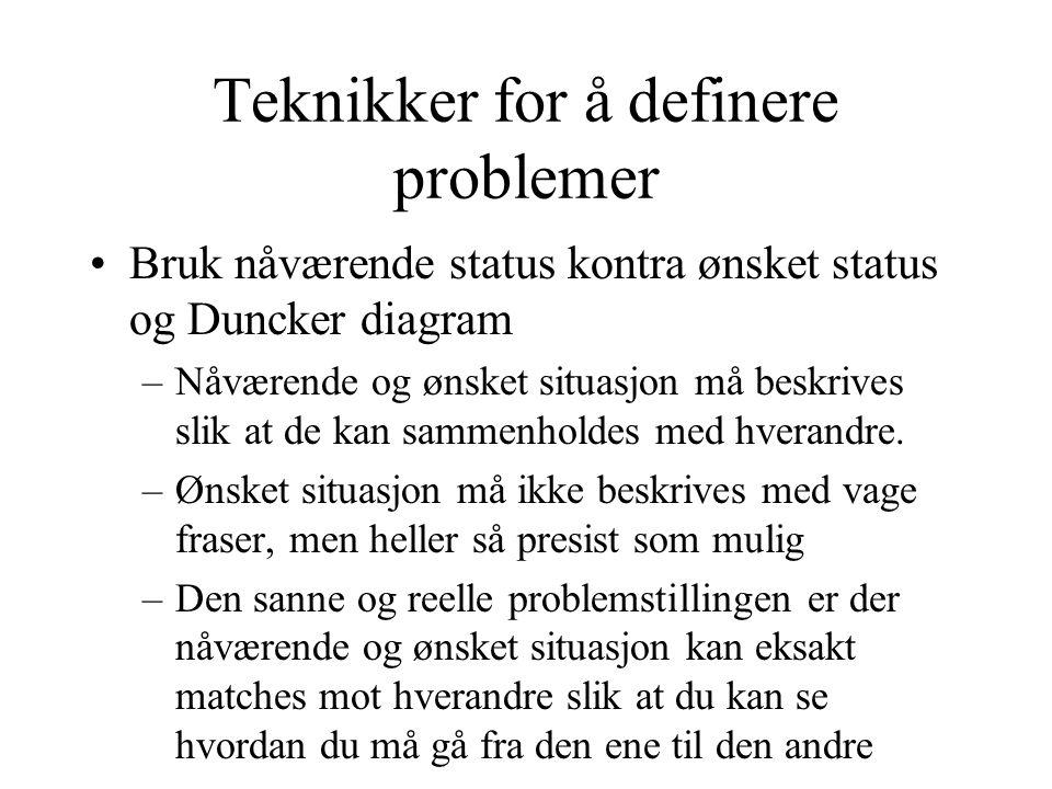Teknikker for å definere problemer •Bruk nåværende status kontra ønsket status og Duncker diagram –Nåværende og ønsket situasjon må beskrives slik at