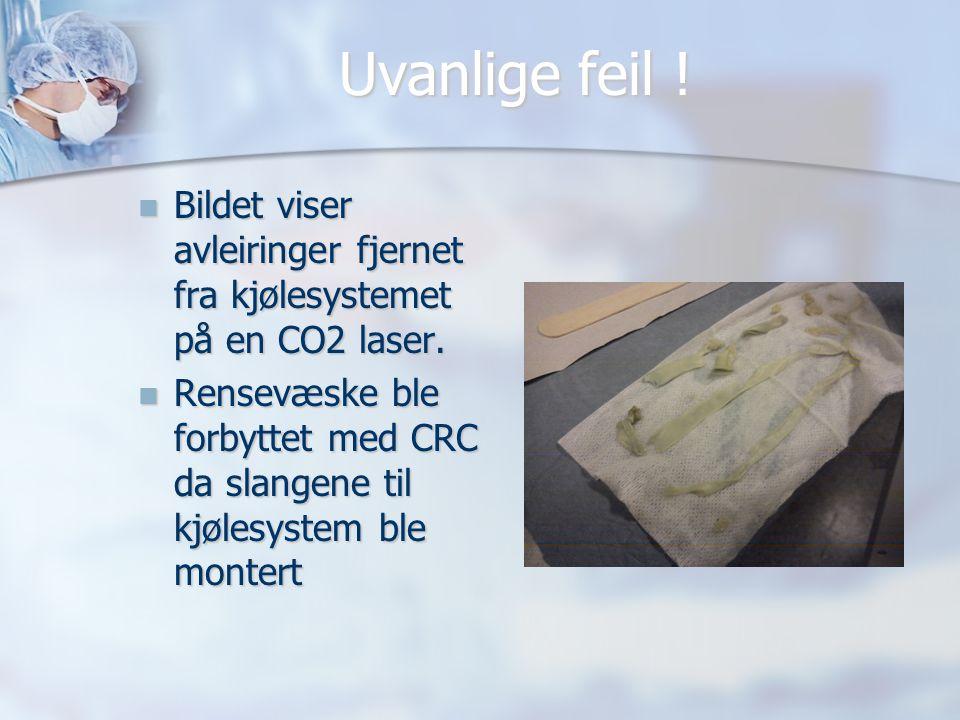 Uvanlige feil . Bildet viser avleiringer fjernet fra kjølesystemet på en CO2 laser.