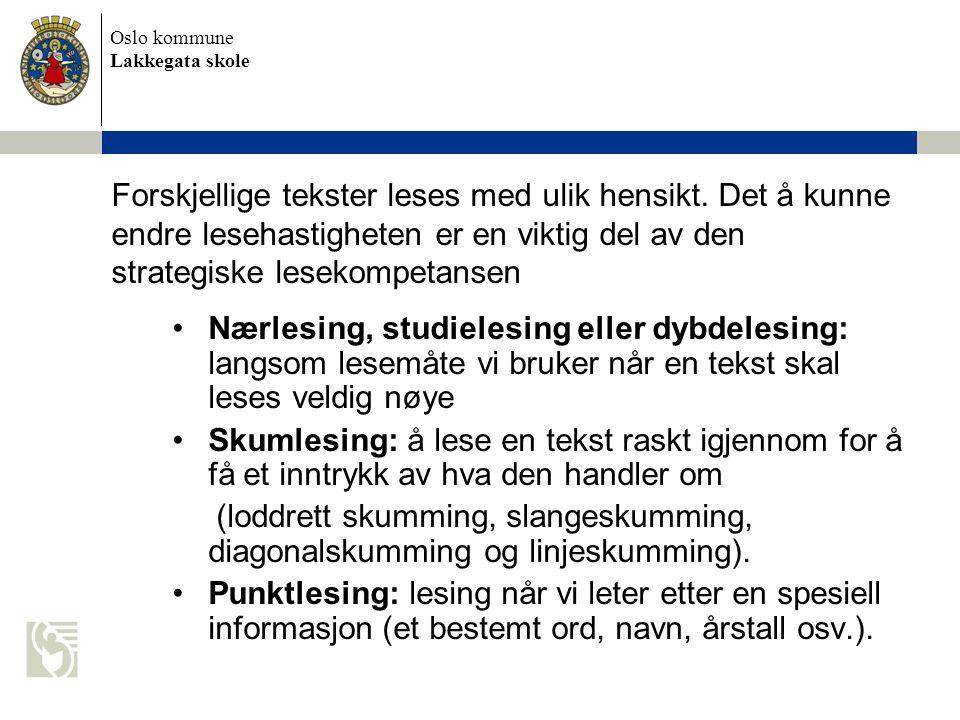 Oslo kommune Lakkegata skole Forskjellige tekster leses med ulik hensikt. Det å kunne endre lesehastigheten er en viktig del av den strategiske leseko