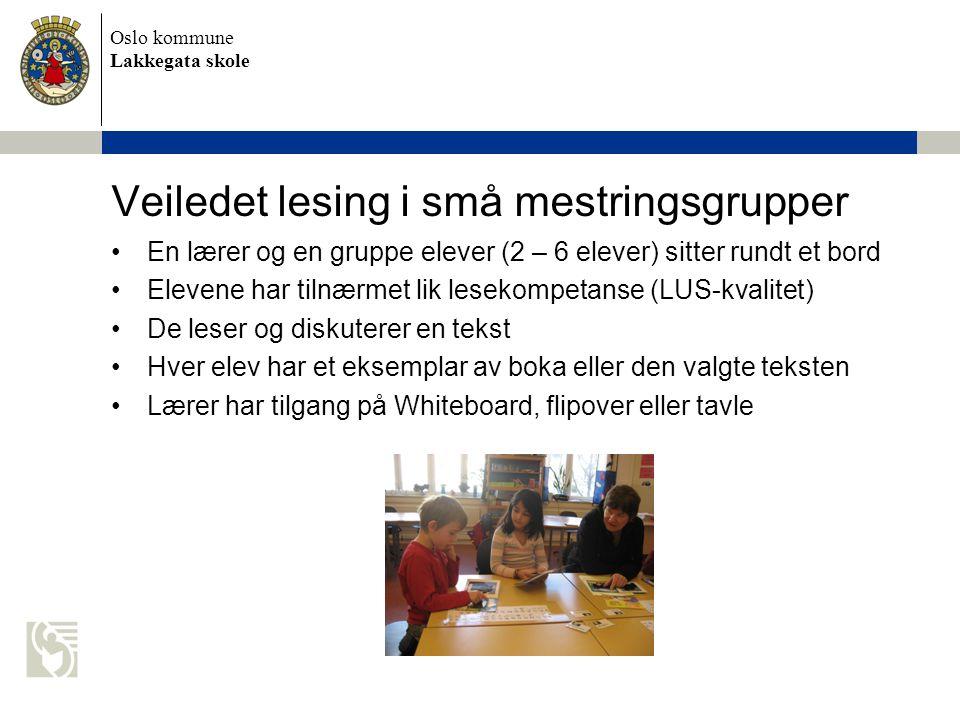 Oslo kommune Lakkegata skole Veiledet lesing i små mestringsgrupper •En lærer og en gruppe elever (2 – 6 elever) sitter rundt et bord •Elevene har til