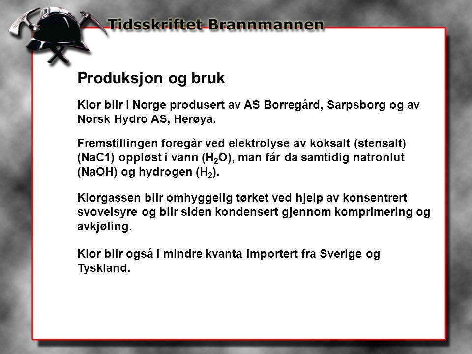 Produksjon og bruk Klor blir i Norge produsert av AS Borregård, Sarpsborg og av Norsk Hydro AS, Herøya. Fremstillingen foregår ved elektrolyse av koks