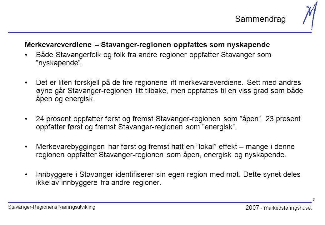 Stavanger-Regionens Næringsutvikling 2007 - m arkedsføringshuset 8 Sammendrag Merkevareverdiene – Stavanger-regionen oppfattes som nyskapende •Både Stavangerfolk og folk fra andre regioner oppfatter Stavanger som nyskapende .