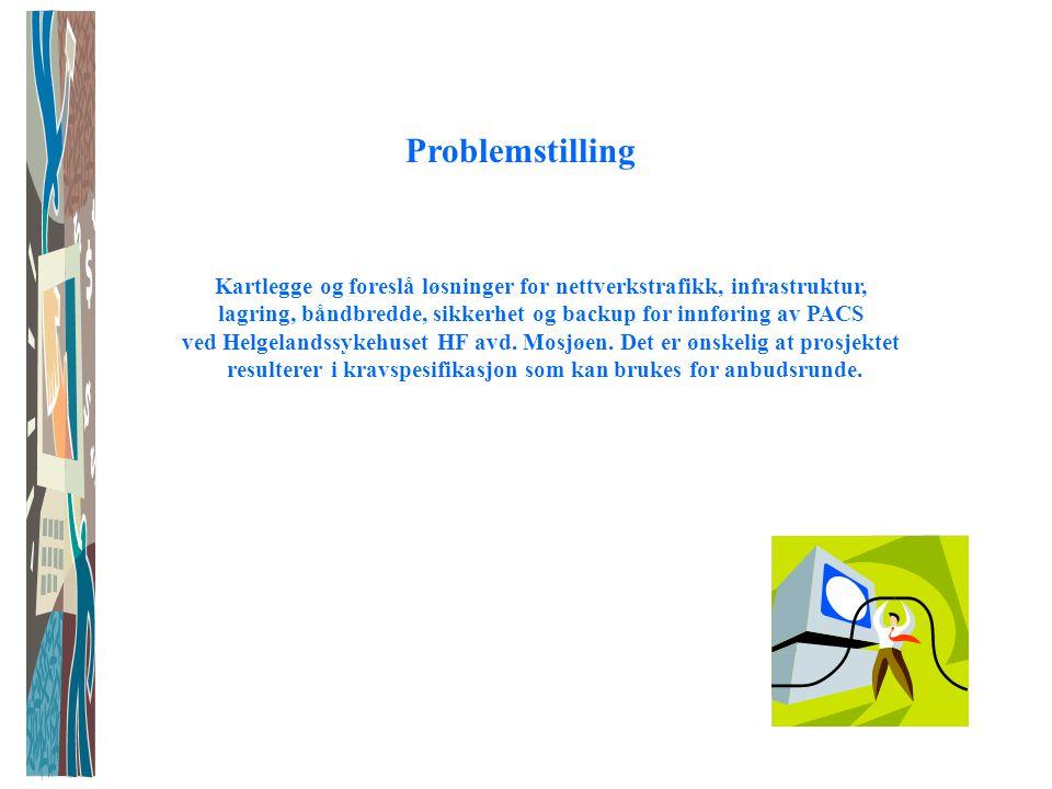 Problemstilling Kartlegge og foreslå løsninger for nettverkstrafikk, infrastruktur, lagring, båndbredde, sikkerhet og backup for innføring av PACS ved