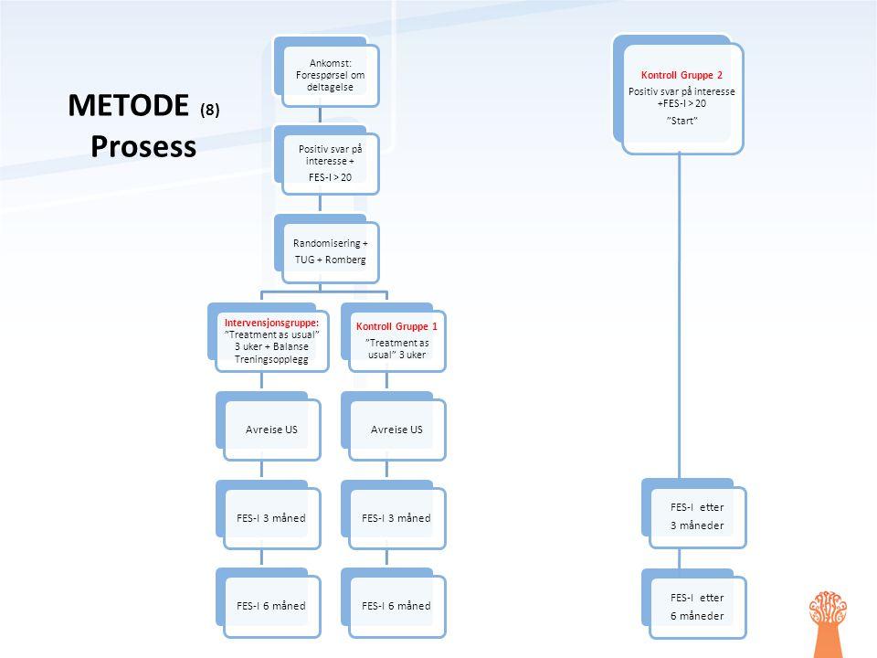 """Ankomst: Forespørsel om deltagelse Positiv svar på interesse + FES-I > 20 Randomisering + TUG + Romberg Intervensjonsgruppe: """"Treatment as usual"""" 3 uk"""