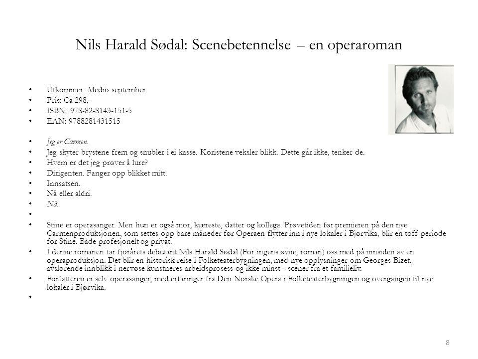 Nils Harald Sødal: Scenebetennelse – en operaroman • Utkommer: Medio september • Pris: Ca 298,- • ISBN: 978-82-8143-151-5 • EAN: 9788281431515 • Jeg er Carmen.
