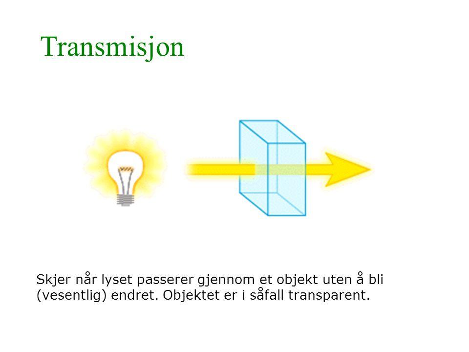 Transmisjon Skjer når lyset passerer gjennom et objekt uten å bli (vesentlig) endret. Objektet er i såfall transparent.