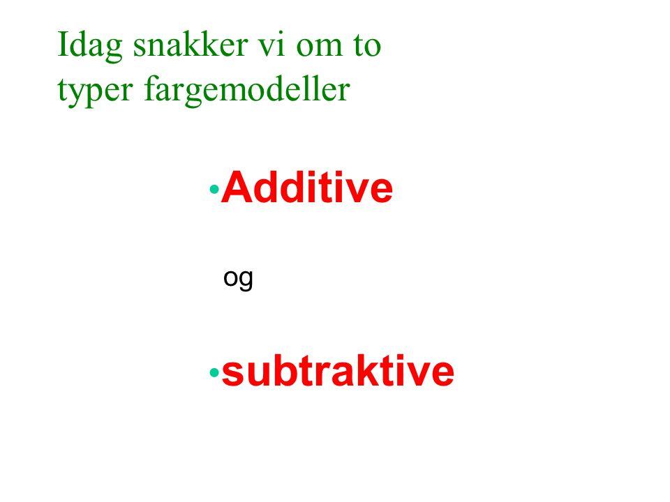 Idag snakker vi om to typer fargemodeller • Additive og • subtraktive