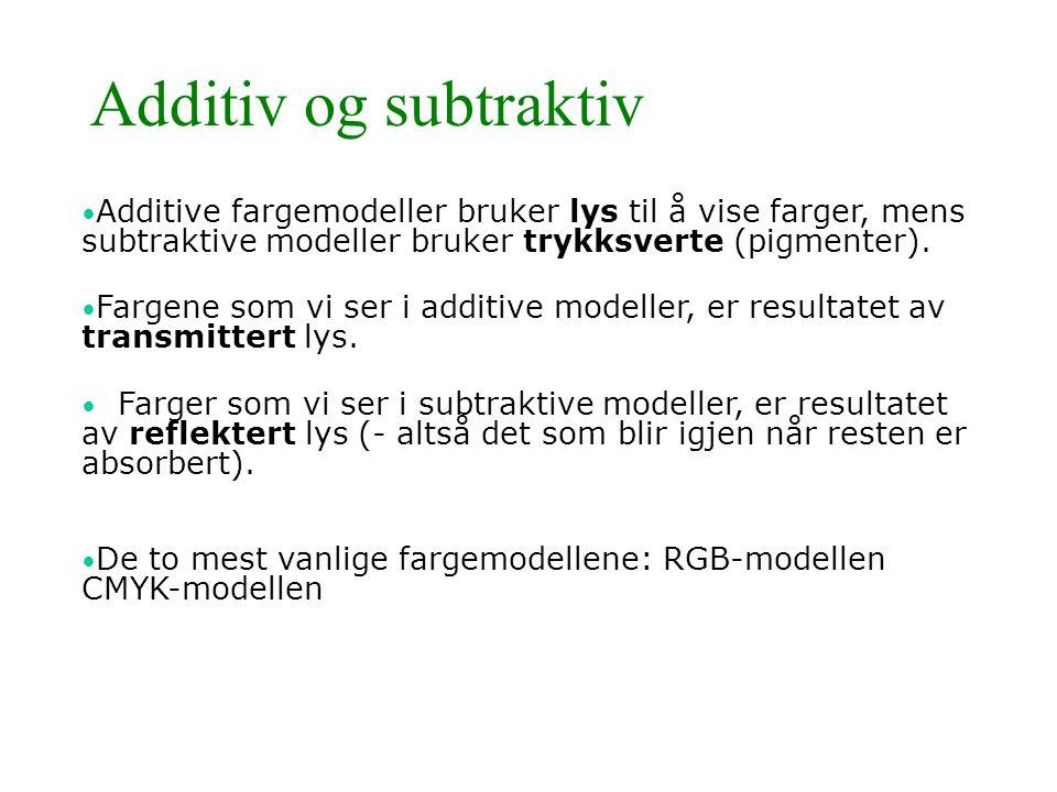 Additiv og subtraktiv • Additive fargemodeller bruker lys til å vise farger, mens subtraktive modeller bruker trykksverte (pigmenter). • Fargene som v
