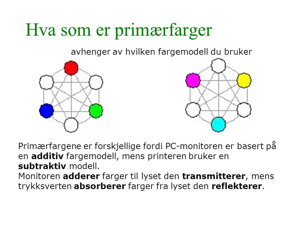 Hva som er primærfarger avhenger av hvilken fargemodell du bruker Primærfargene er forskjellige fordi PC-monitoren er basert på en additiv fargemodell