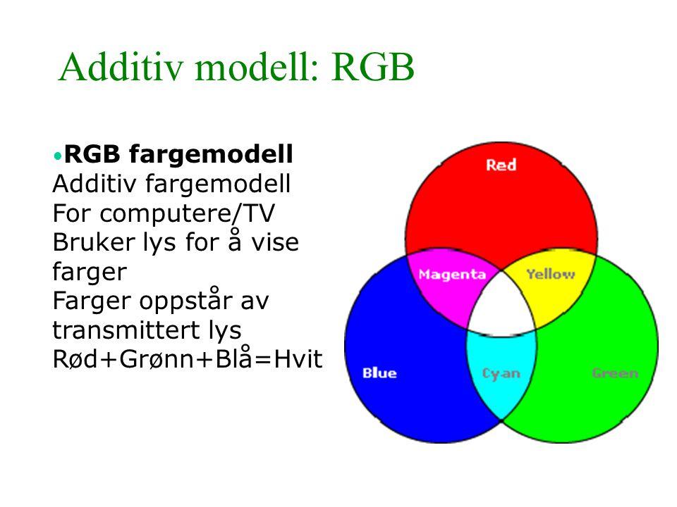 Additiv modell: RGB • RGB fargemodell Additiv fargemodell For computere/TV Bruker lys for å vise farger Farger oppstår av transmittert lys Rød+Grønn+B