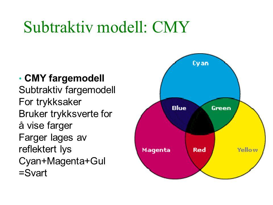 Subtraktiv modell: CMY • CMY fargemodell Subtraktiv fargemodell For trykksaker Bruker trykksverte for å vise farger Farger lages av reflektert lys Cya