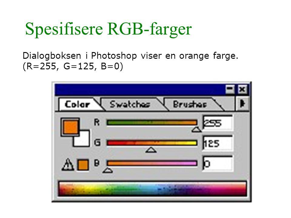 Spesifisere RGB-farger Dialogboksen i Photoshop viser en orange farge. (R=255, G=125, B=0)