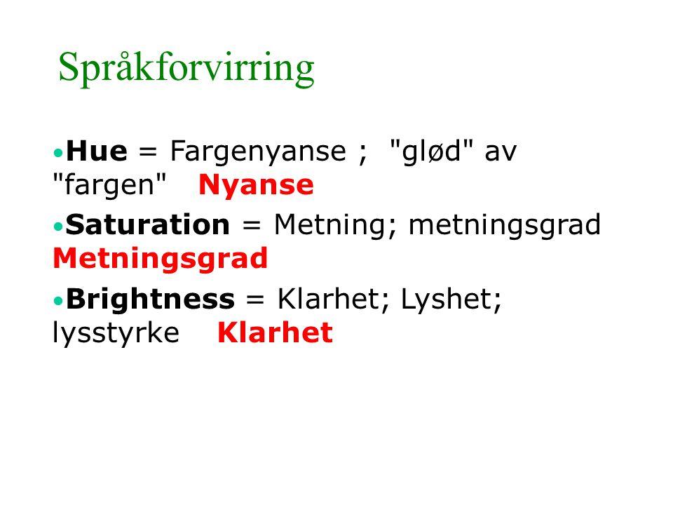 Språkforvirring • Hue = Fargenyanse ;