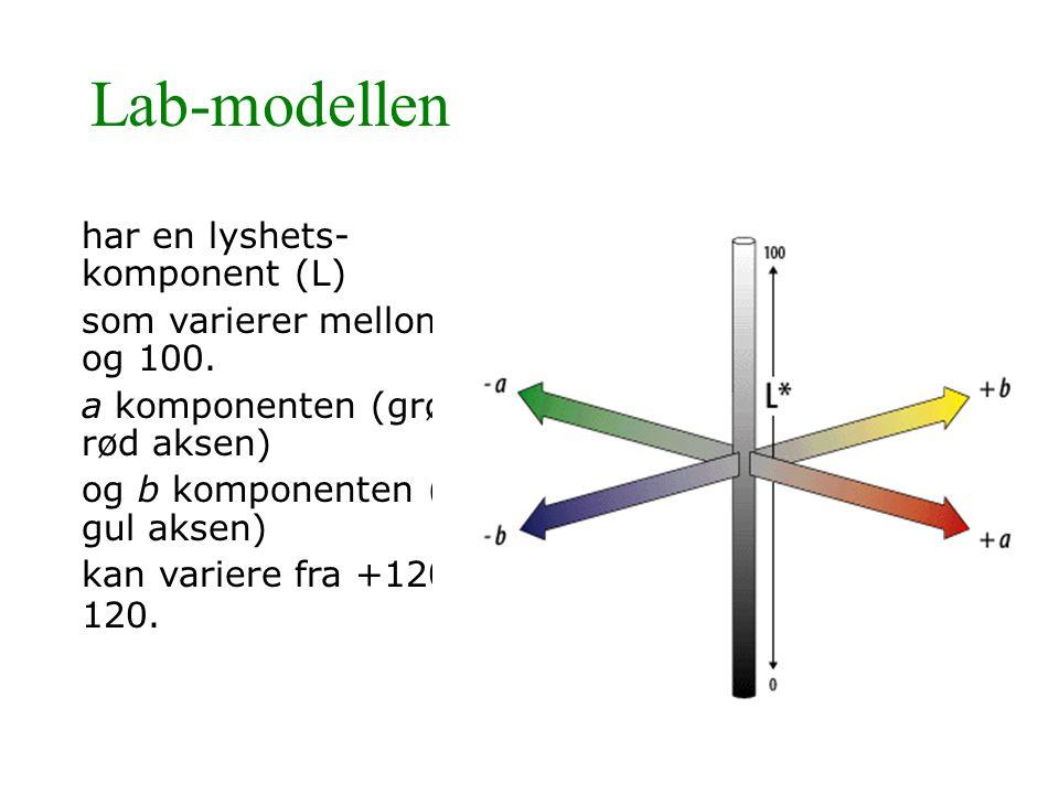 Lab-modellen har en lyshets- komponent (L) som varierer mellom 0 og 100. a komponenten (grønn- rød aksen) og b komponenten (blå- gul aksen) kan varier
