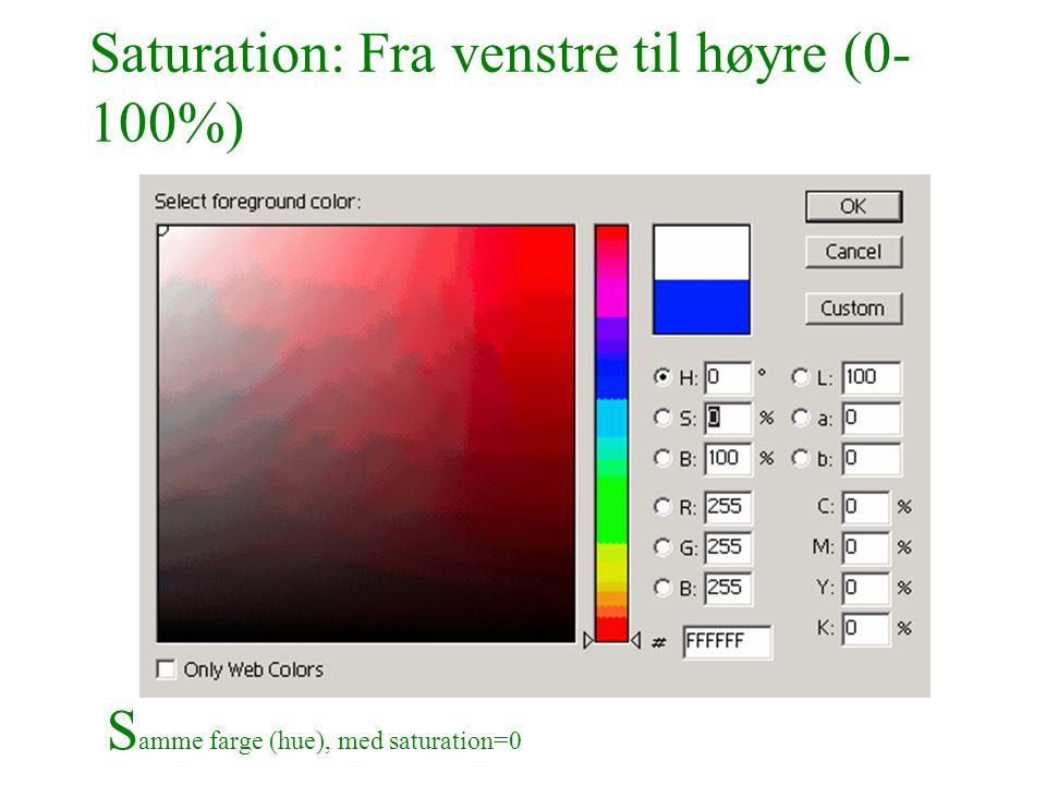 Saturation: Fra venstre til høyre (0- 100%) S amme farge (hue), med saturation=0