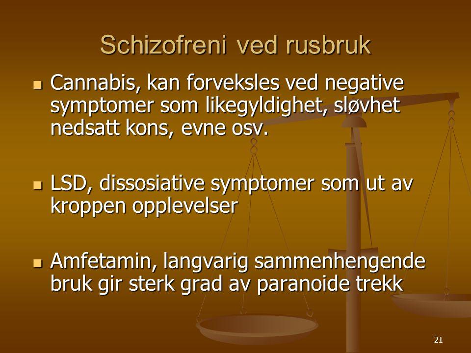 20 Mani ved rusbruk  Amfetamin, følelse av økt energi, velvære, rastløshet, grandiositet osv.