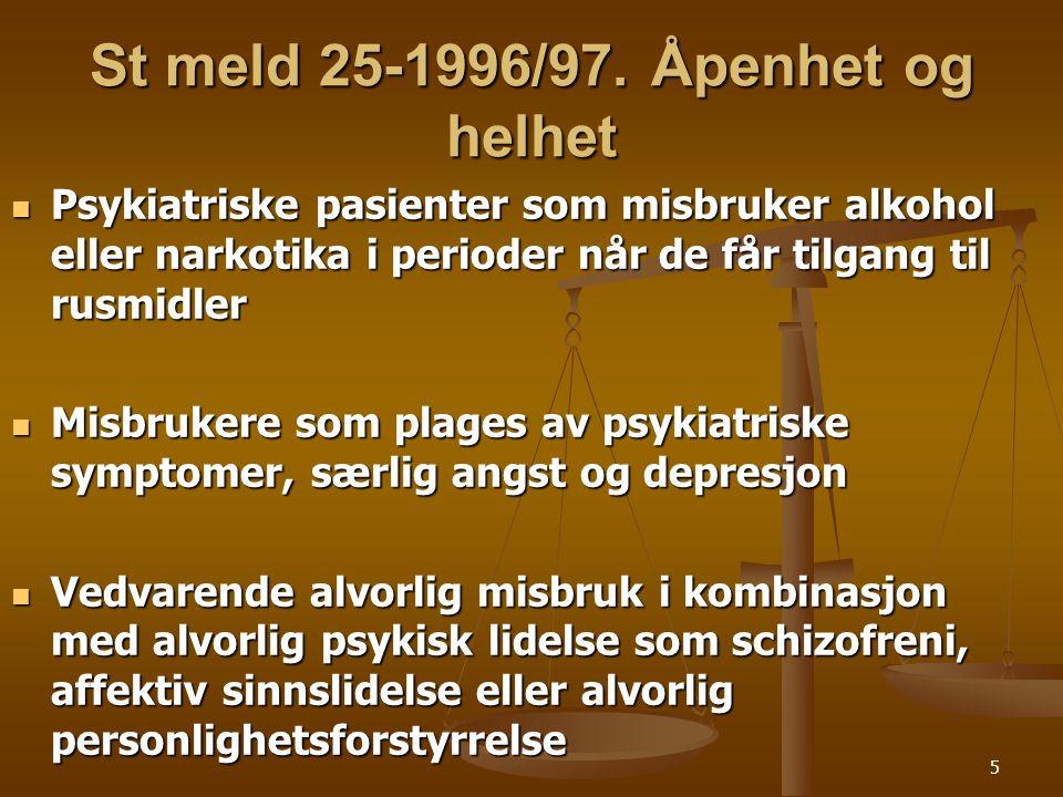 35 Skademodellen  Rusbruk – Psykisk lidelse  Alkohol – Depresjon  Cannabis – Schizofreni  Ecstasy – Angst/depresjoner