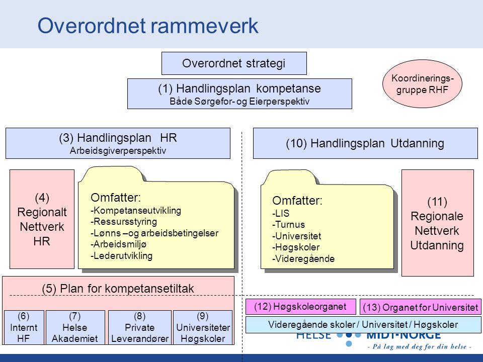 Koordinerings- gruppe RHF Overordnet strategi (1) Handlingsplan kompetanse Både Sørgefor- og Eierperspektiv (3) Handlingsplan HR Arbeidsgiverperspekti