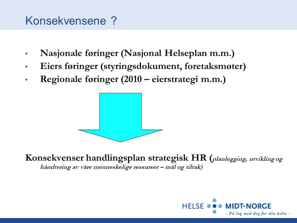 Konsekvensene ? • Nasjonale føringer (Nasjonal Helseplan m.m.) • Eiers føringer (styringsdokument, foretaksmøter) • Regionale føringer (2010 – eierstr