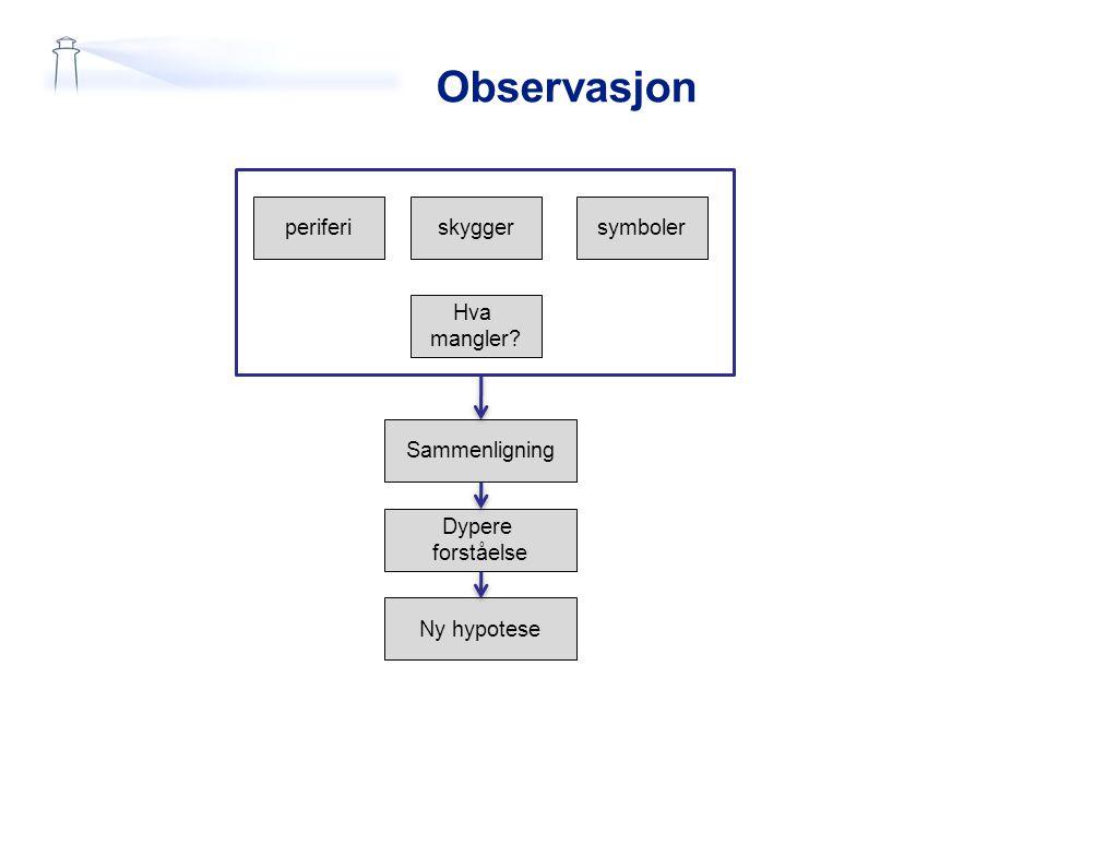 Observasjon periferiskyggersymboler Hva mangler? Sammenligning Dypere forståelse Ny hypotese