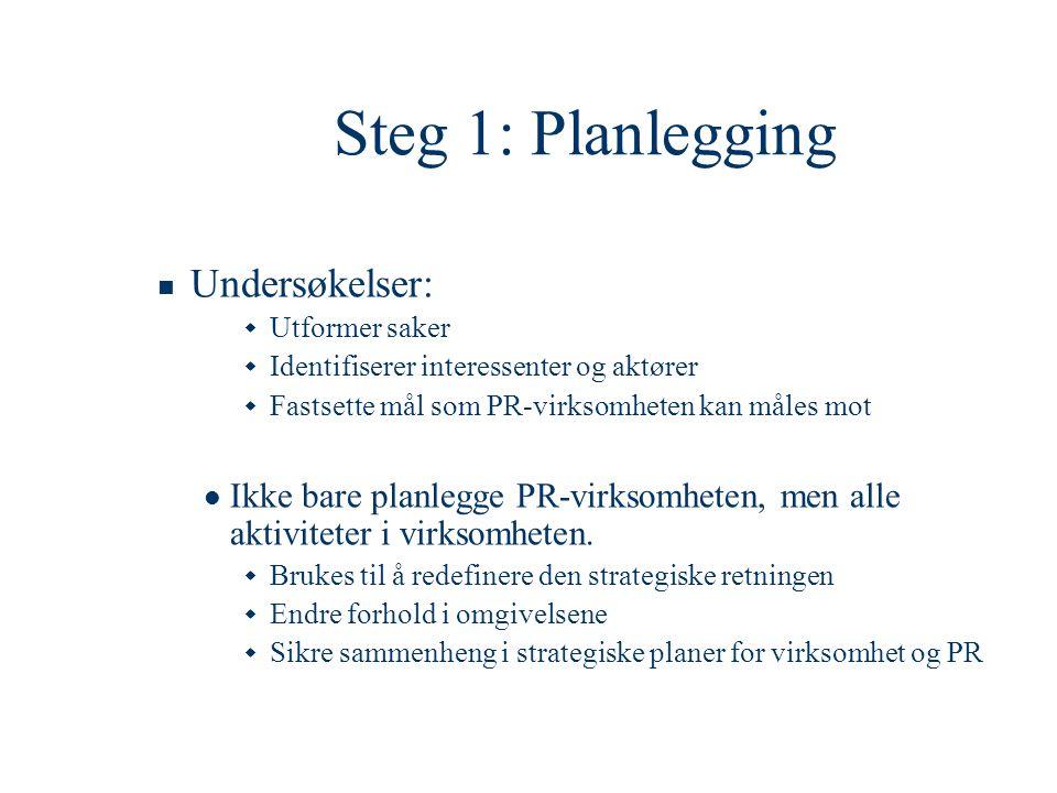 Steg 1: Planlegging  Undersøkelser:  Utformer saker  Identifiserer interessenter og aktører  Fastsette mål som PR-virksomheten kan måles mot  Ikk