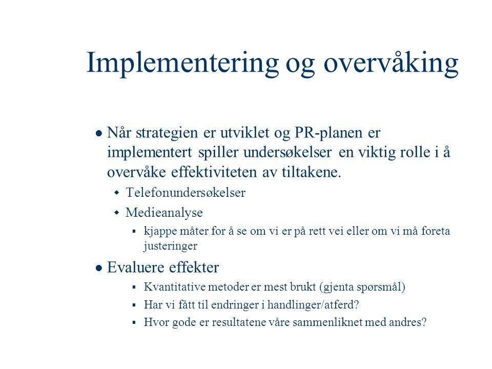 Implementering og overvåking  Når strategien er utviklet og PR-planen er implementert spiller undersøkelser en viktig rolle i å overvåke effektivitet