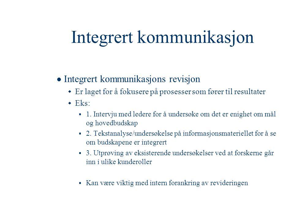 Integrert kommunikasjon  Integrert kommunikasjons revisjon  Er laget for å fokusere på prosesser som fører til resultater  Eks:  1. Intervju med l