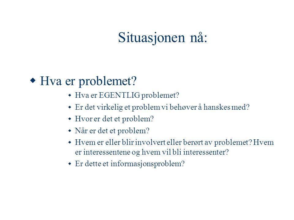 Situasjonen nå:  Hva er problemet?  Hva er EGENTLIG problemet?  Er det virkelig et problem vi behøver å hanskes med?  Hvor er det et problem?  Nå