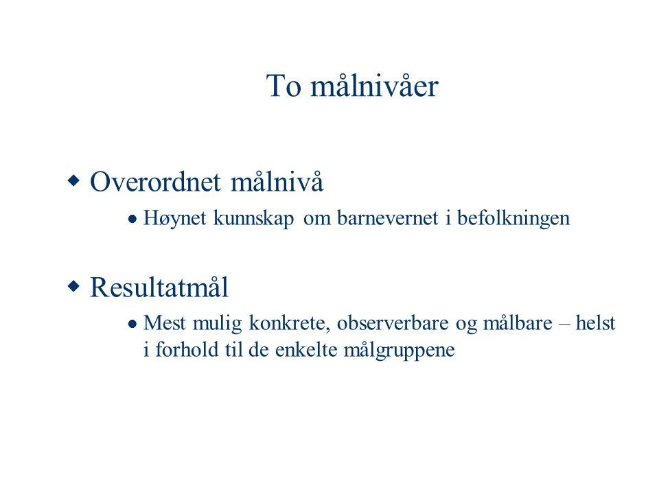To målnivåer  Overordnet målnivå  Høynet kunnskap om barnevernet i befolkningen  Resultatmål  Mest mulig konkrete, observerbare og målbare – helst