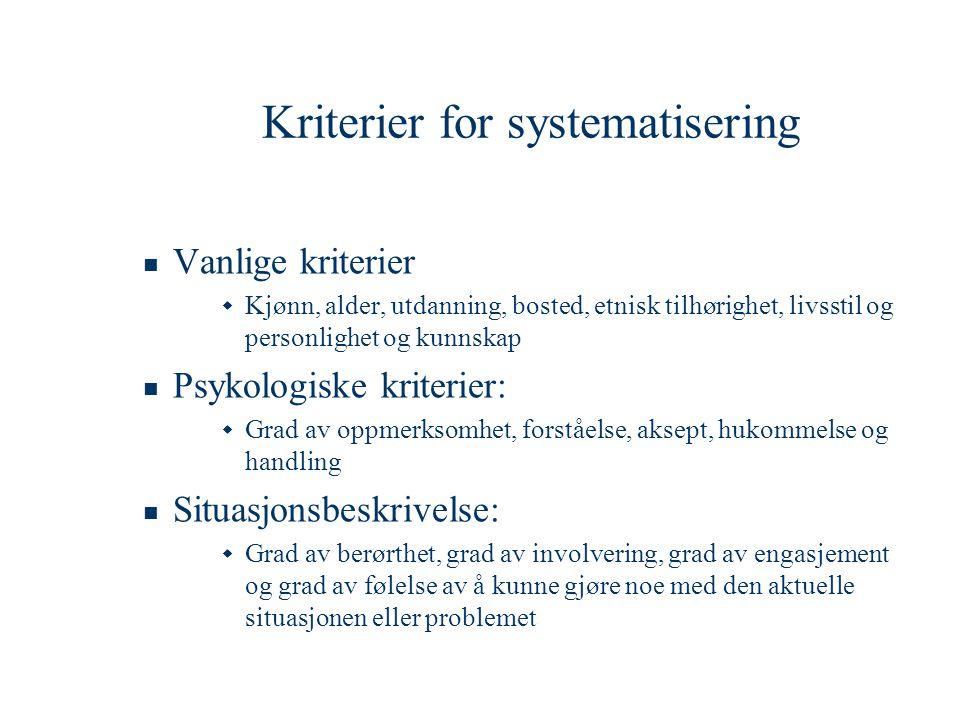 Kriterier for systematisering  Vanlige kriterier  Kjønn, alder, utdanning, bosted, etnisk tilhørighet, livsstil og personlighet og kunnskap  Psykol