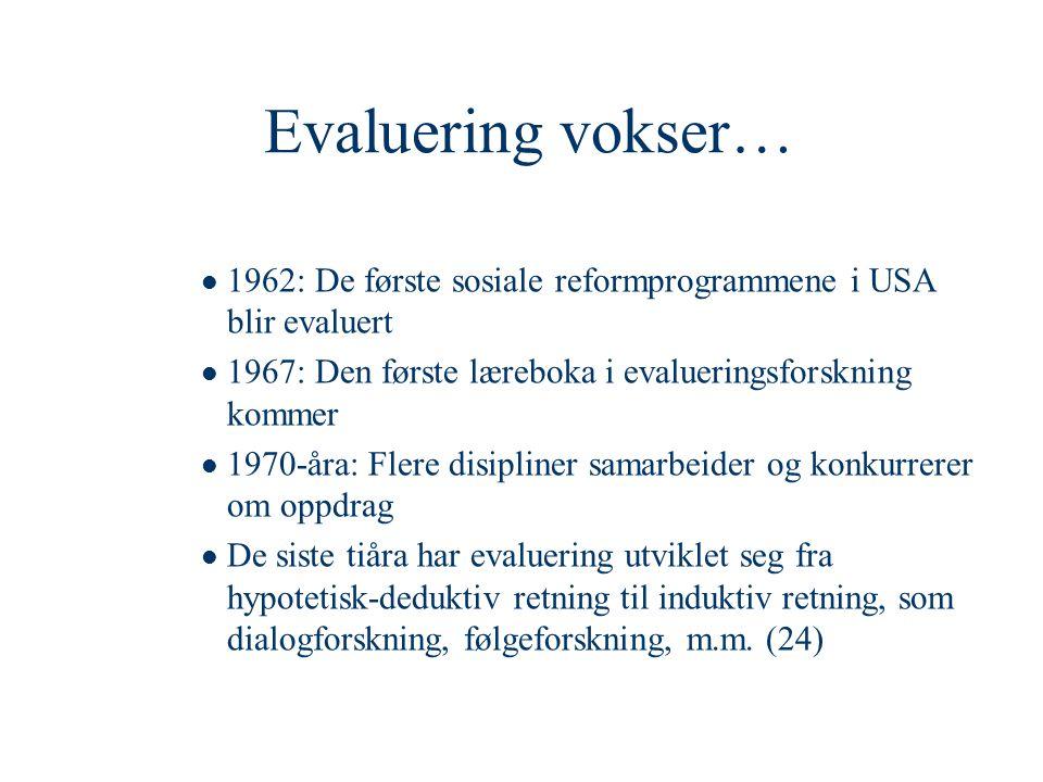 Evaluering vokser…  1962: De første sosiale reformprogrammene i USA blir evaluert  1967: Den første læreboka i evalueringsforskning kommer  1970-år
