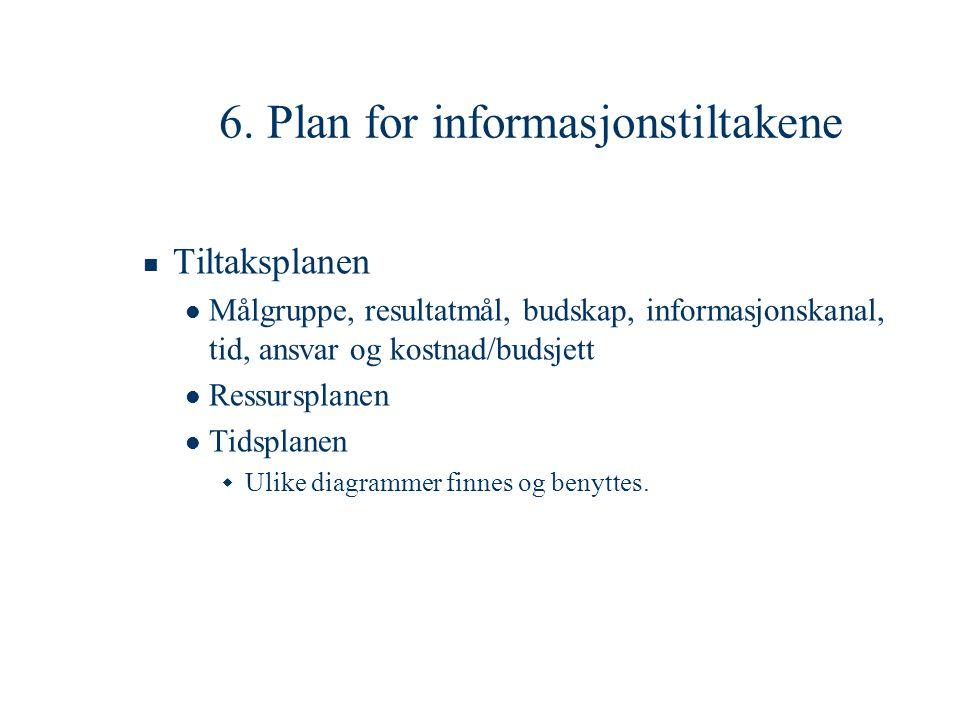 6. Plan for informasjonstiltakene  Tiltaksplanen  Målgruppe, resultatmål, budskap, informasjonskanal, tid, ansvar og kostnad/budsjett  Ressursplane