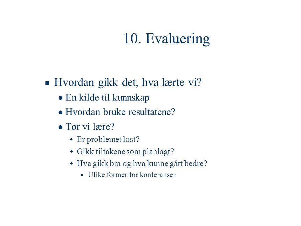 10. Evaluering  Hvordan gikk det, hva lærte vi?  En kilde til kunnskap  Hvordan bruke resultatene?  Tør vi lære?  Er problemet løst?  Gikk tilta