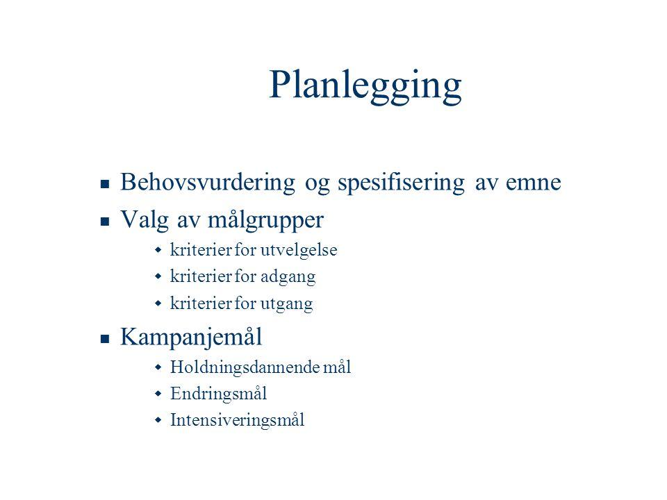Planlegging  Behovsvurdering og spesifisering av emne  Valg av målgrupper  kriterier for utvelgelse  kriterier for adgang  kriterier for utgang 