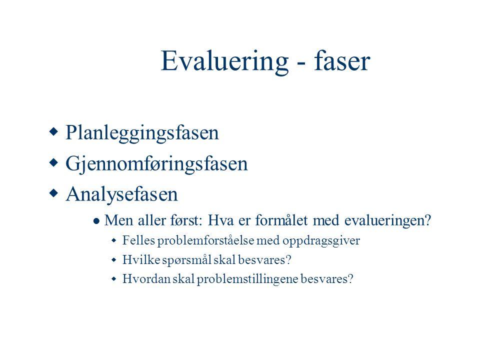 Evaluering - faser  Planleggingsfasen  Gjennomføringsfasen  Analysefasen  Men aller først: Hva er formålet med evalueringen?  Felles problemforst