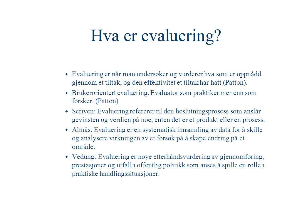 Hva er evaluering?  Evaluering er når man undersøker og vurderer hva som er oppnådd gjennom et tiltak, og den effektivitet et tiltak har hatt (Patton