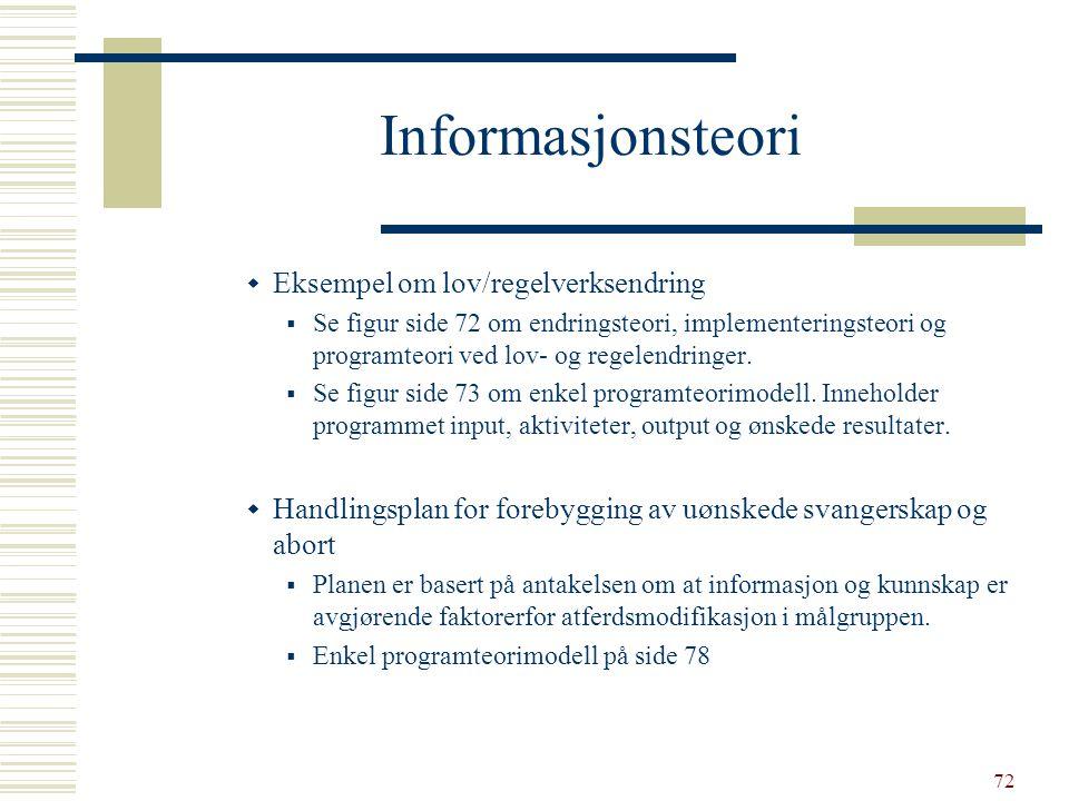 72 Informasjonsteori  Eksempel om lov/regelverksendring  Se figur side 72 om endringsteori, implementeringsteori og programteori ved lov- og regelen