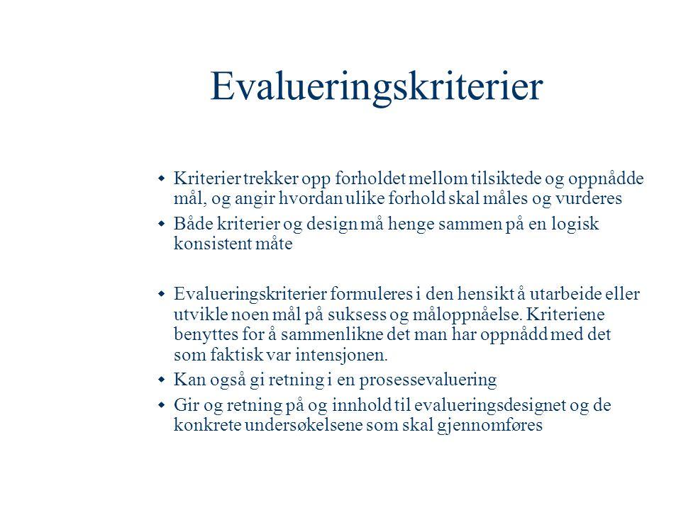 Evalueringskriterier  Kriterier trekker opp forholdet mellom tilsiktede og oppnådde mål, og angir hvordan ulike forhold skal måles og vurderes  Både