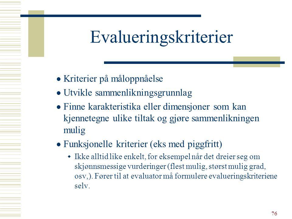 76 Evalueringskriterier  Kriterier på måloppnåelse  Utvikle sammenlikningsgrunnlag  Finne karakteristika eller dimensjoner som kan kjennetegne ulik