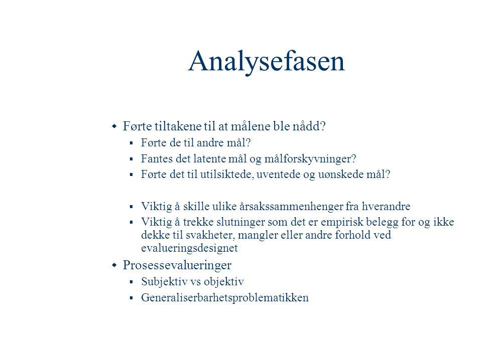 Analysefasen  Førte tiltakene til at målene ble nådd?  Førte de til andre mål?  Fantes det latente mål og målforskyvninger?  Førte det til utilsik