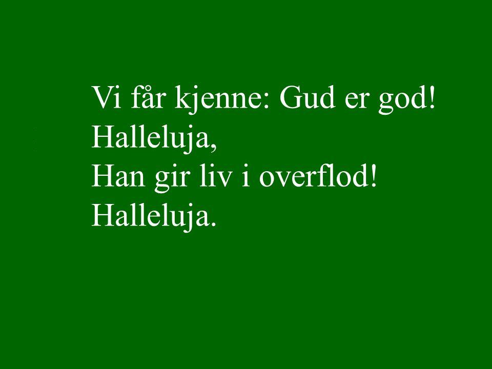 Vi får kjenne: Gud er god! Halleluja, Han gir liv i overflod! Halleluja.... Lyset skinner over jord 3