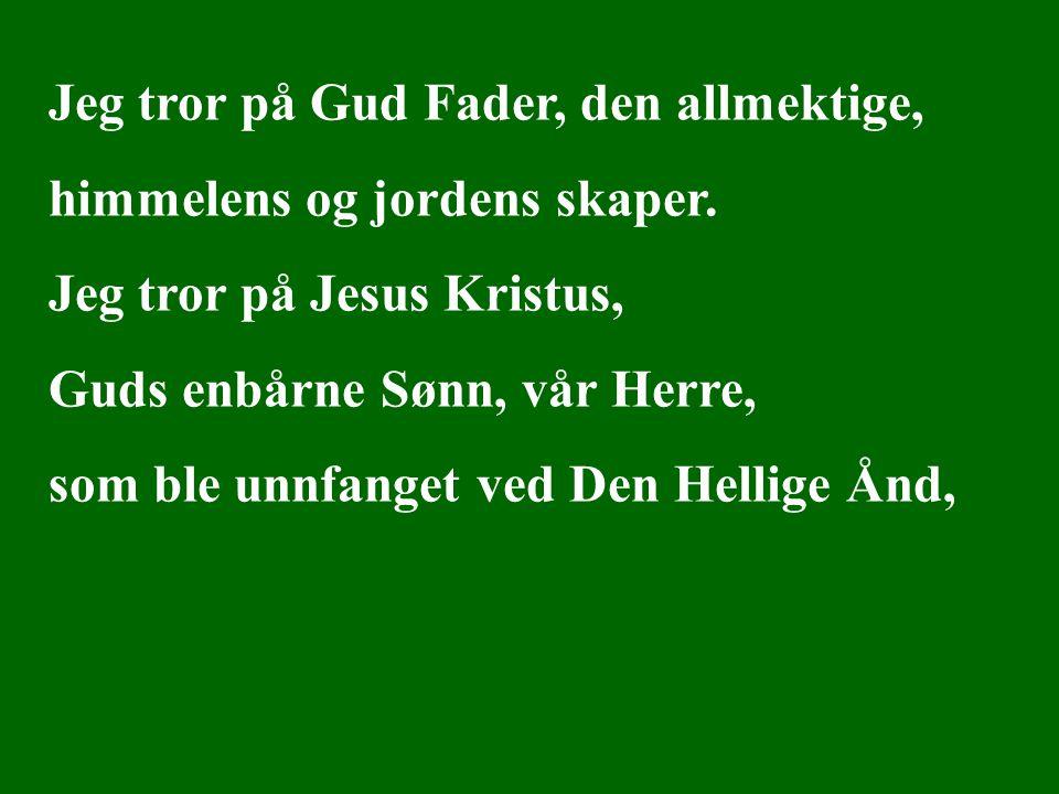 Jeg tror på Gud Fader, den allmektige, himmelens og jordens skaper. Jeg tror på Jesus Kristus, Guds enbårne Sønn, vår Herre, som ble unnfanget ved Den